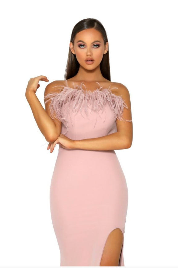 portia and scarlett pink feather dress