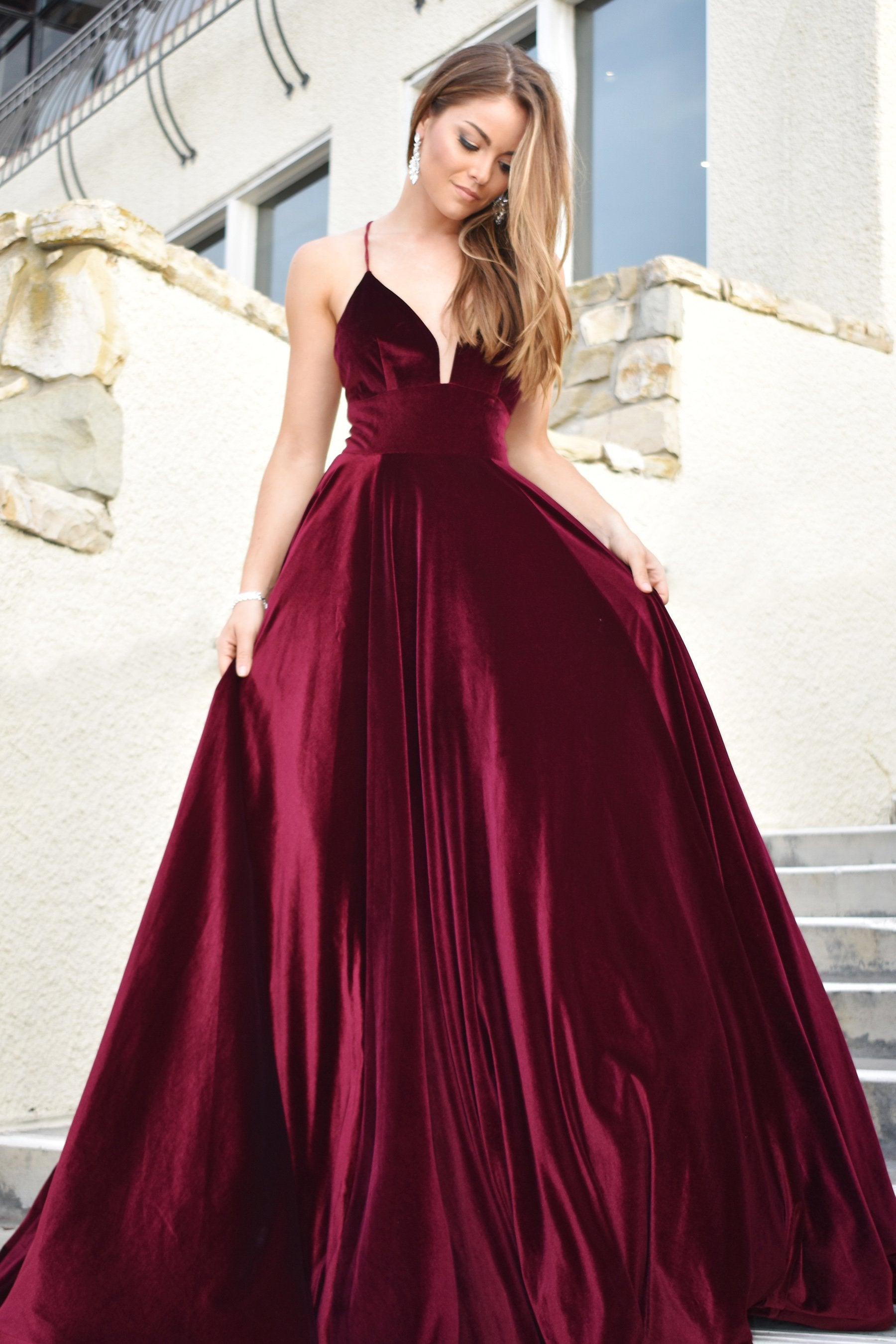 rene the label velvet ball gown