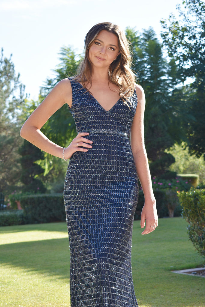 Rene the label navy blue beaded evening dress