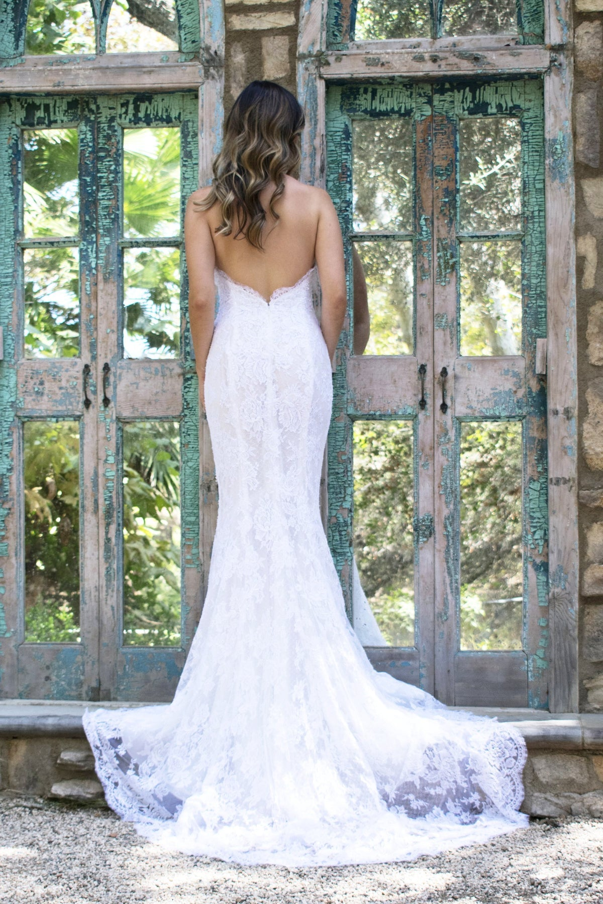 rene atelier rose lace bridal gown
