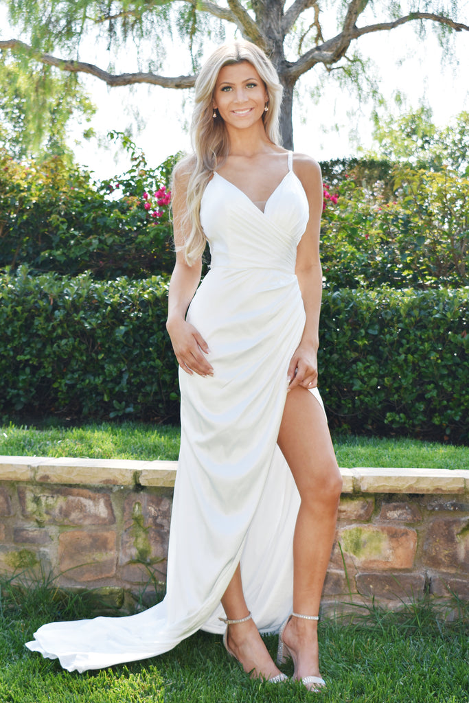 sweetheart white satin dress