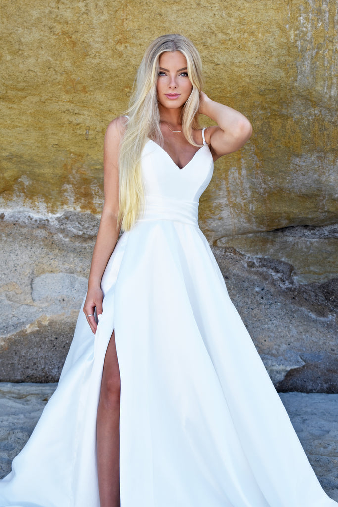 white satin beach bridal gown