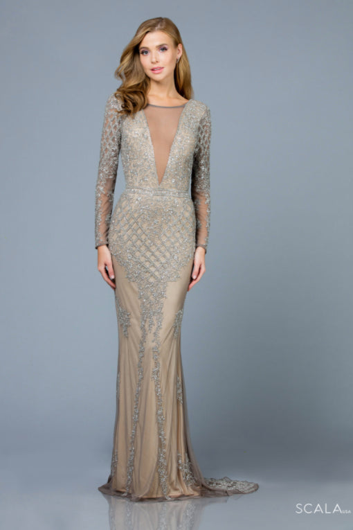 Scala 60175 silver beaded long sleeves dress