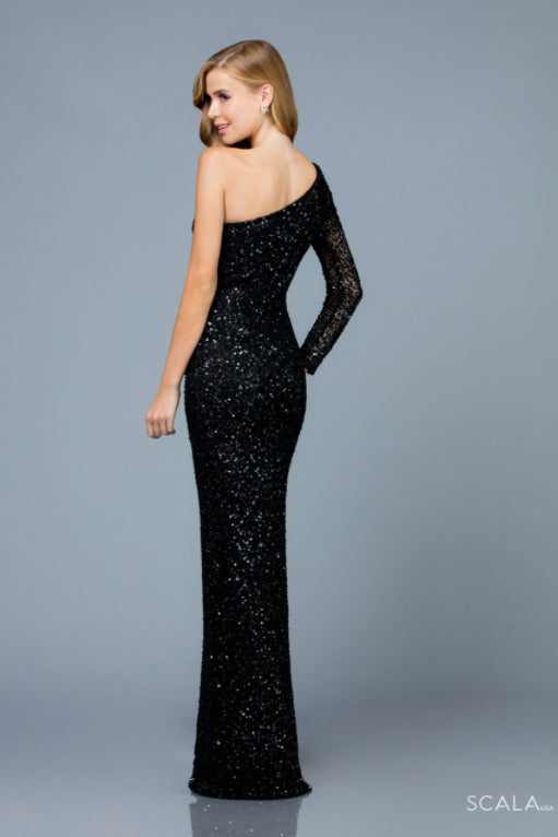 scala 60205 black one shoulder long dress