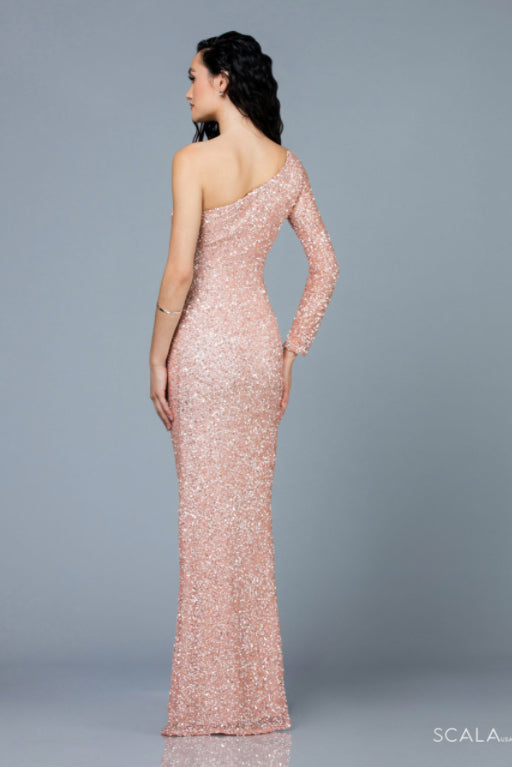 scala 60205 blush pink one shoulder long dress