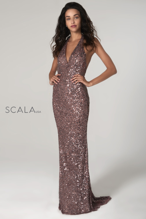 Scala 48959 amethyst halter dress