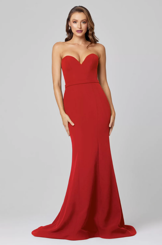 red strapless satin dress