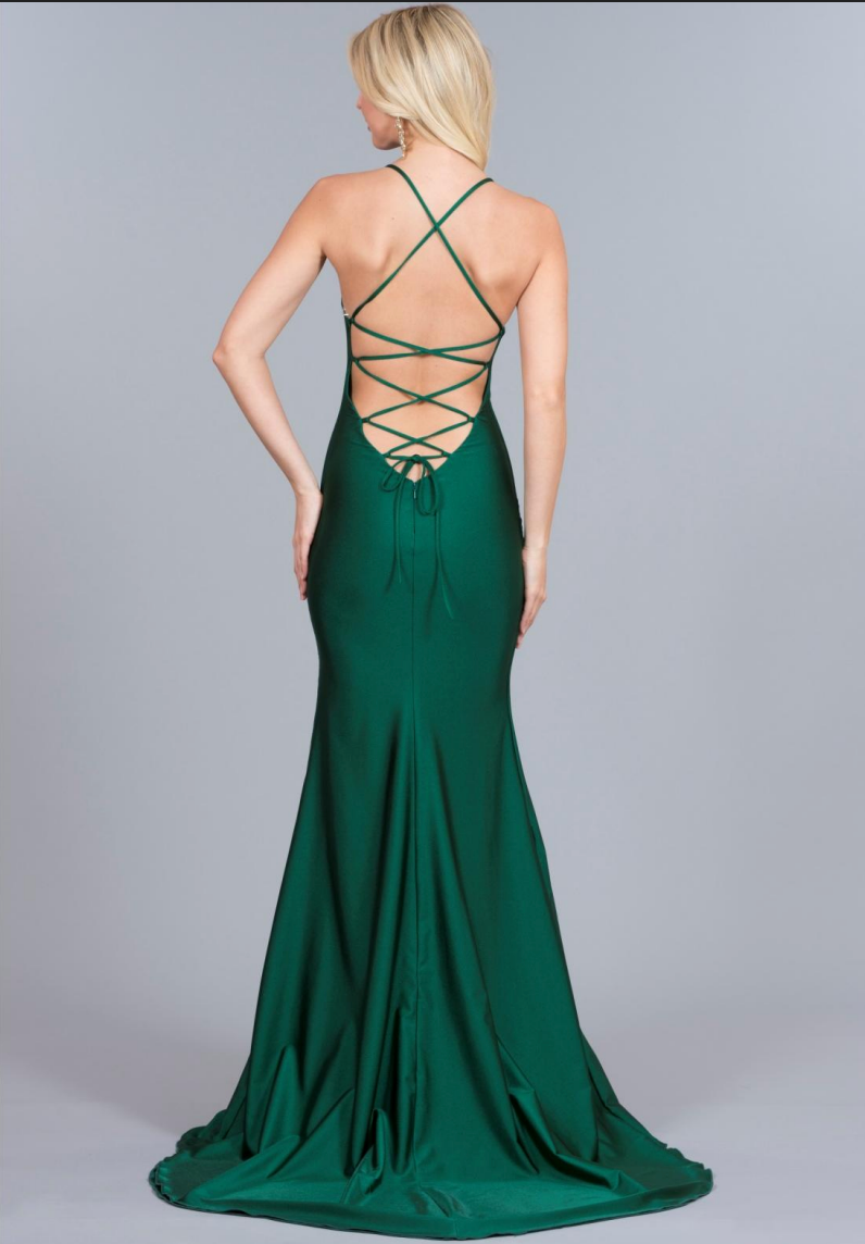 atria style 6009 low back lace up prom dress