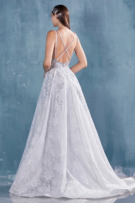 Andrea and Leo A0964 v neck aline ballgown layered floral embroidery sheer bodice open back