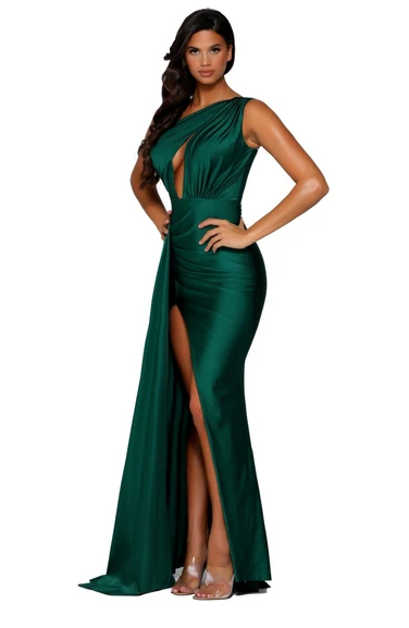 Portia and Scarlett Ps6310 fitted jersey one shoulder keyhole let slit long gown