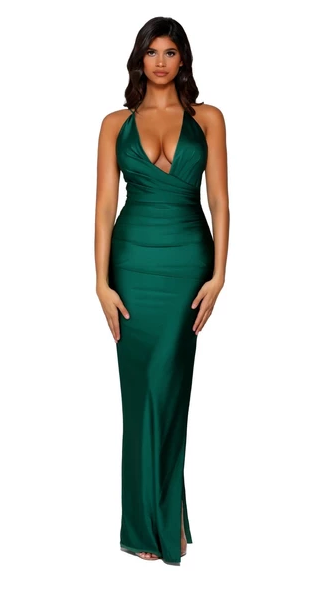 Portia and Scarlett Ps6395 deep neckline wrap skirt leg slit open back long dress