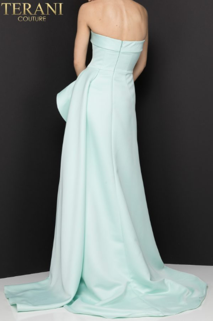 Terani 2012P1288 strapless peplum slit aline train gown