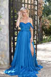 Rene the label blue chiffon prom dress