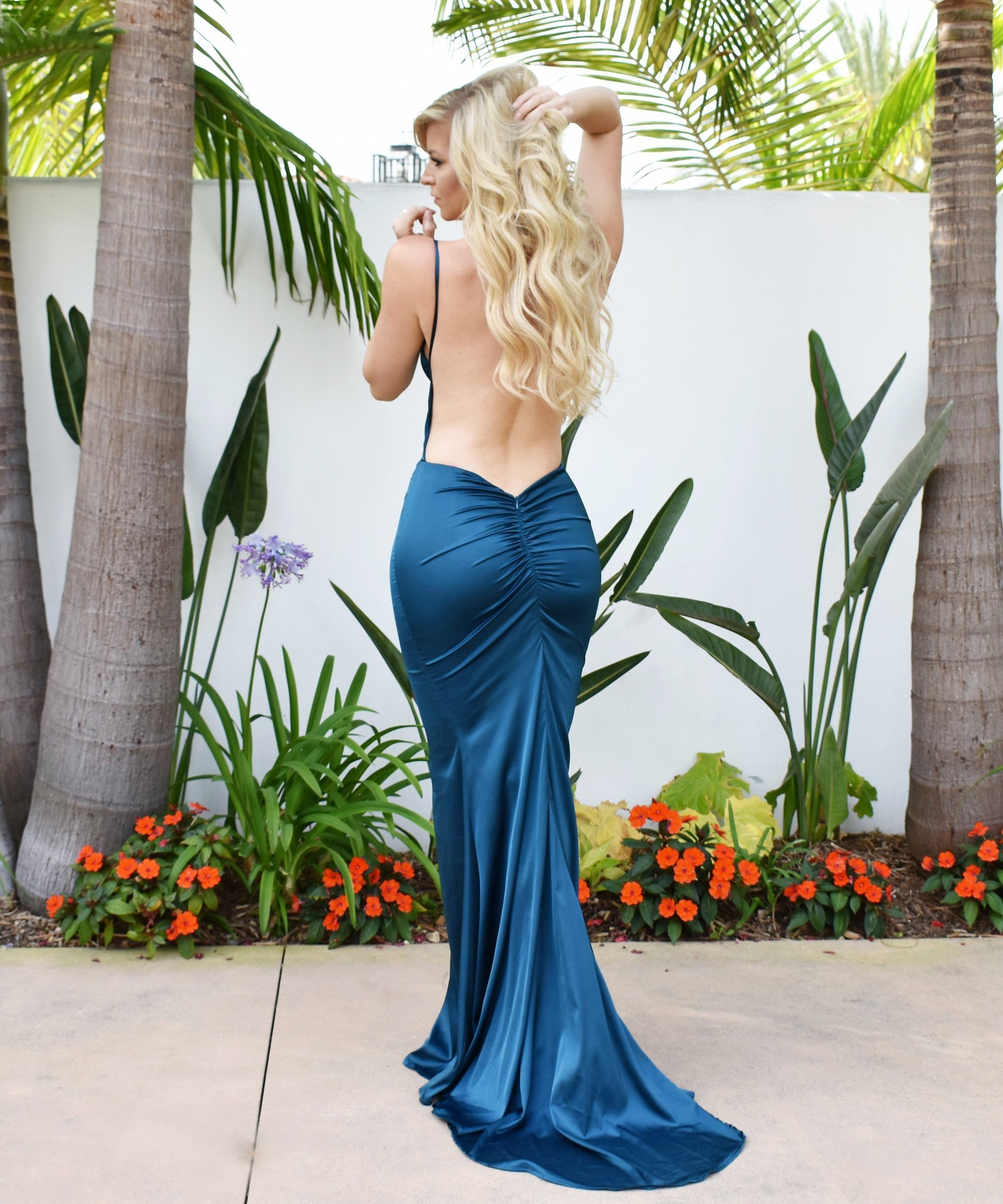 Rene the label low back teal satin prom dress