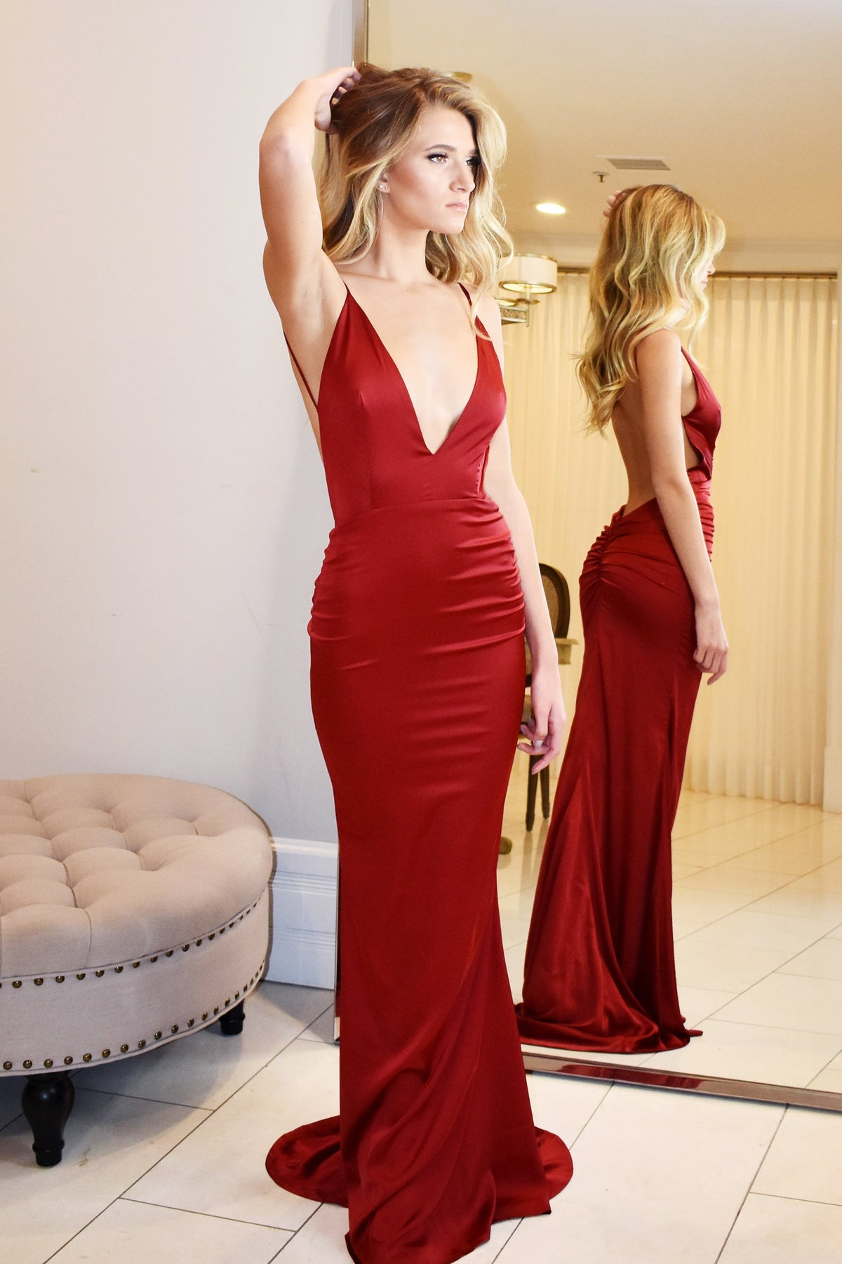red Sicily low back dress