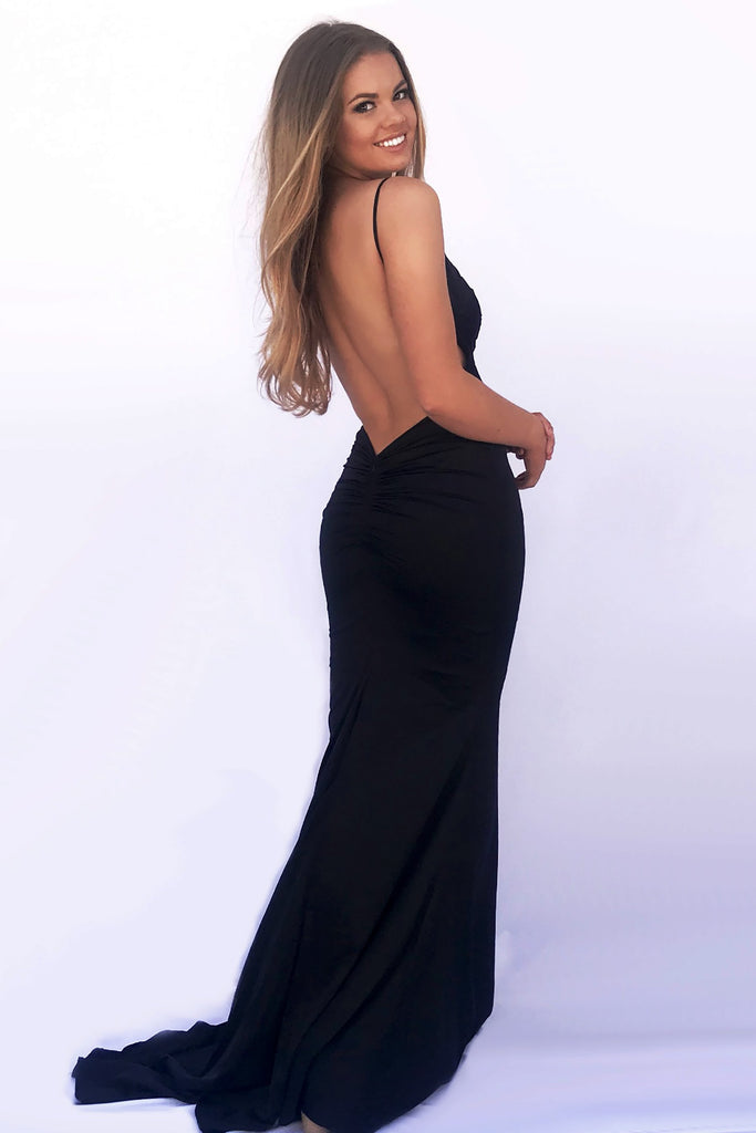 rene the label sicily gown black low back dress