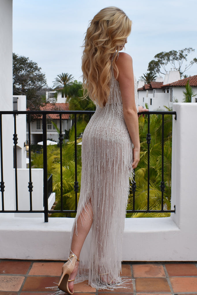 white beaded fringe dress from rene atelier