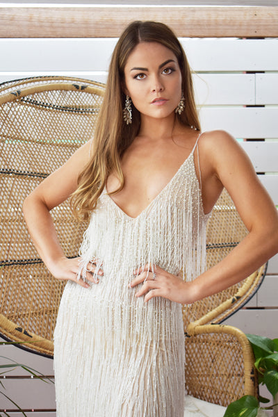 white beaded fringe dress