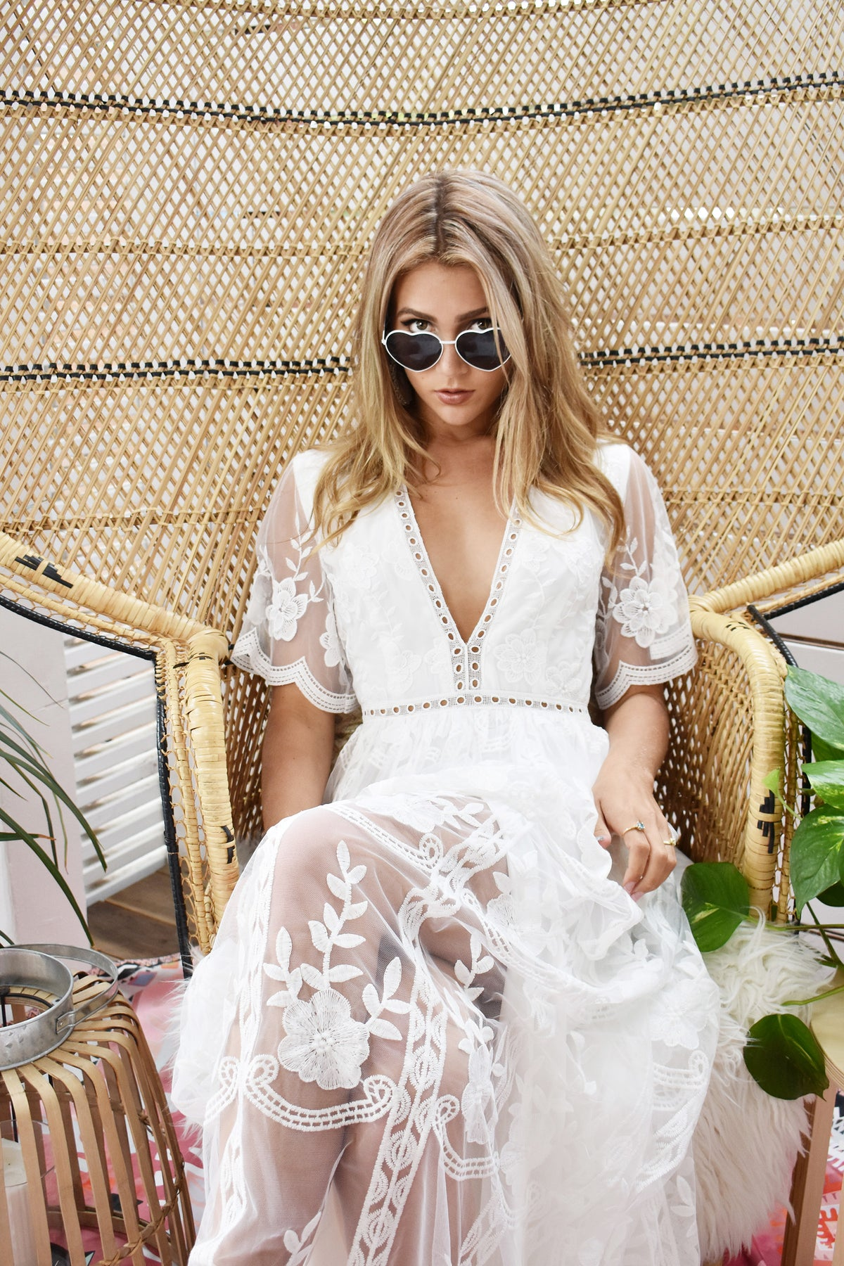 Boho destination white lace wedding dress