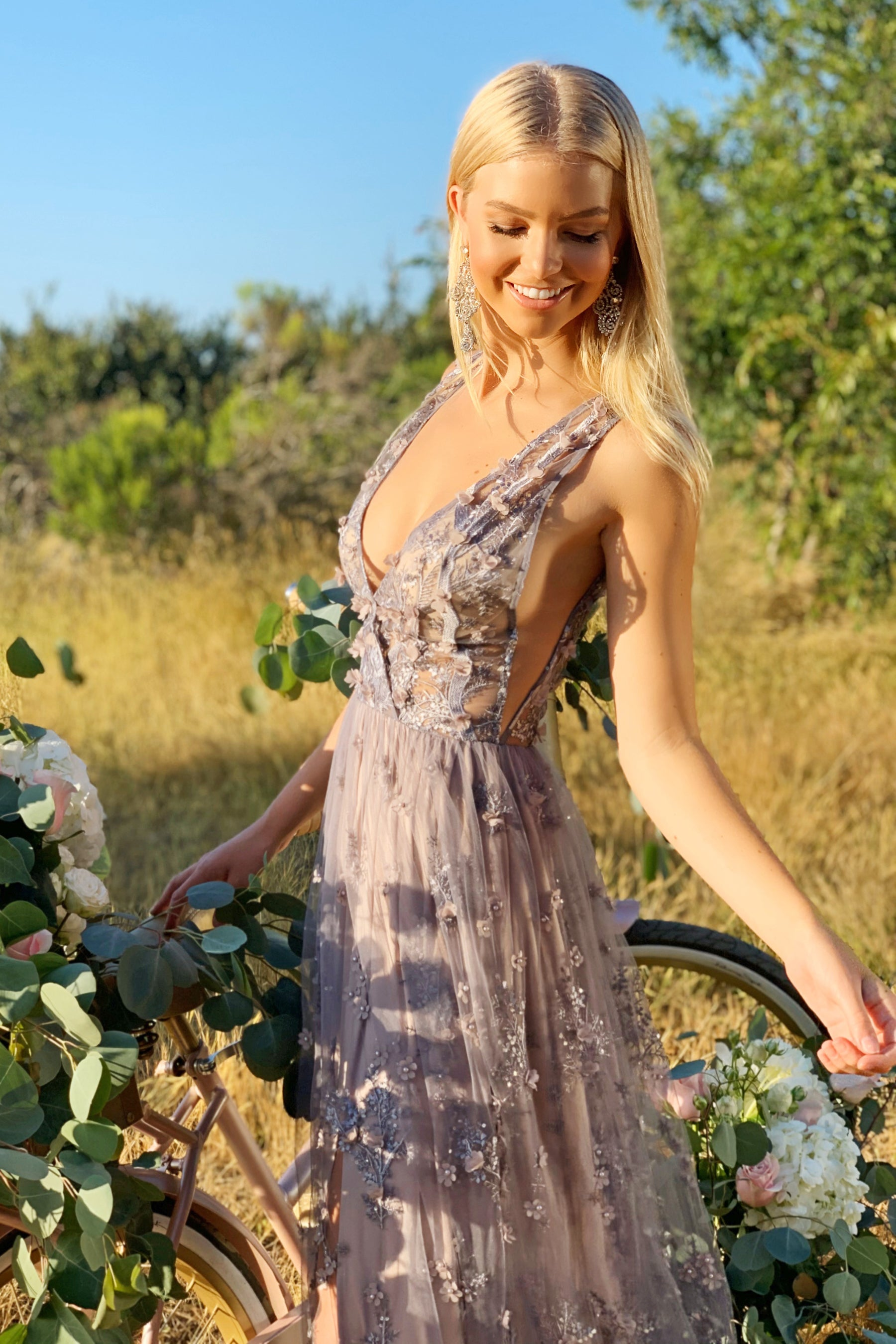 lavender lace bridesmaid dress