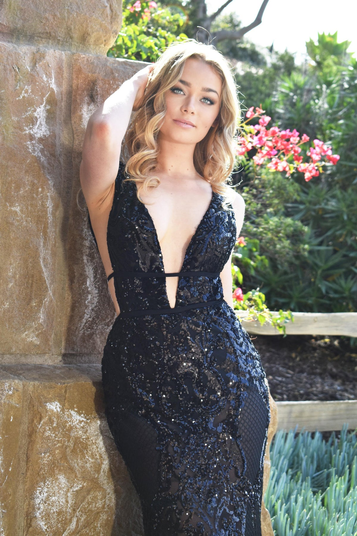black sequins veronica gown