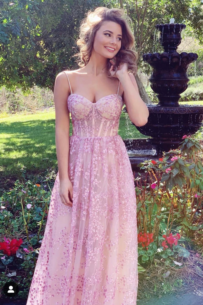 blush pink floral gown