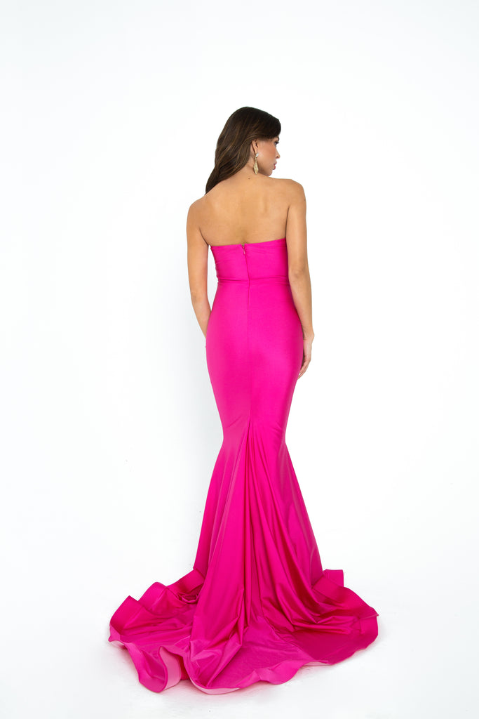 hot pink strapless prom dress