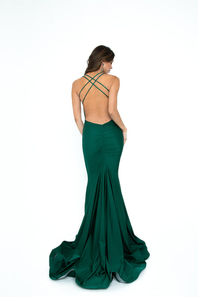 low back fitted prom dress