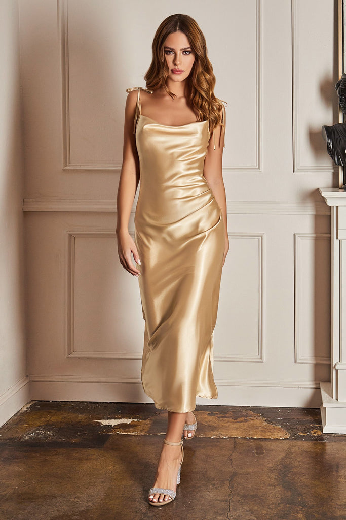 Jenny cowl simple midi satin dress