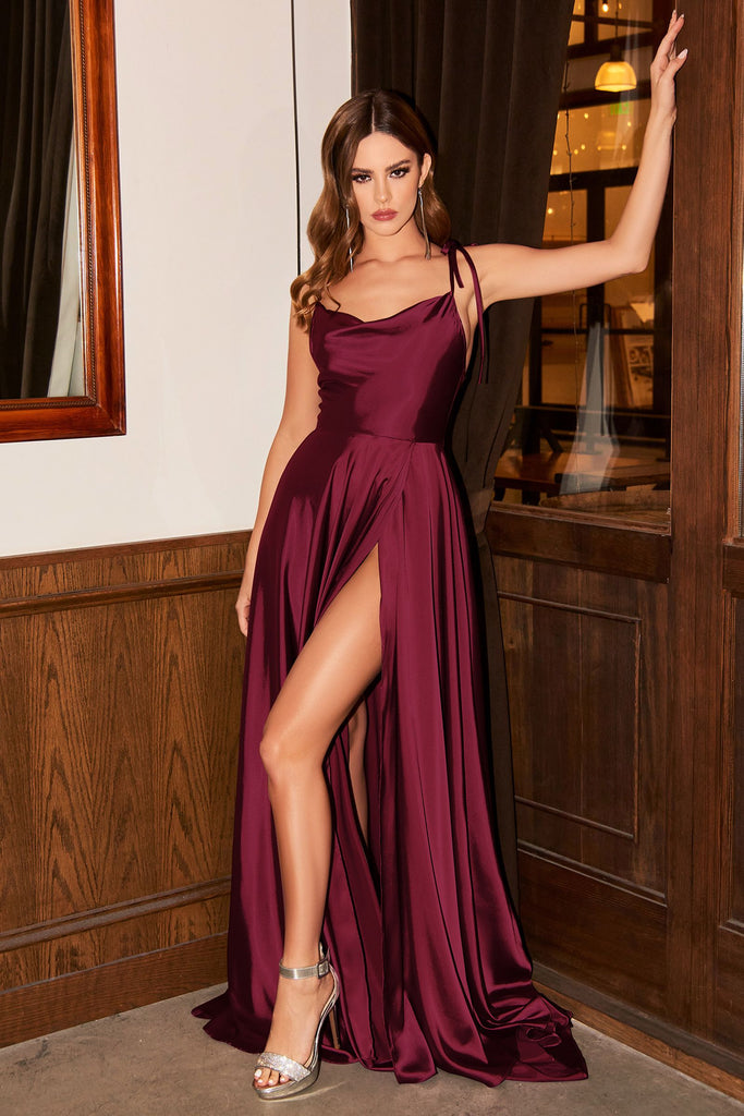 Maddison cowl aline long satin dress
