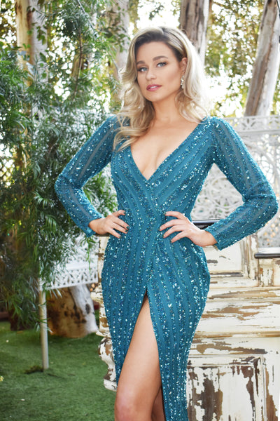 miss ca blue beaded pageant dress