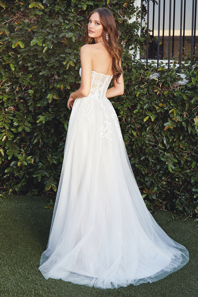 sexy strapless bustier wedding dress