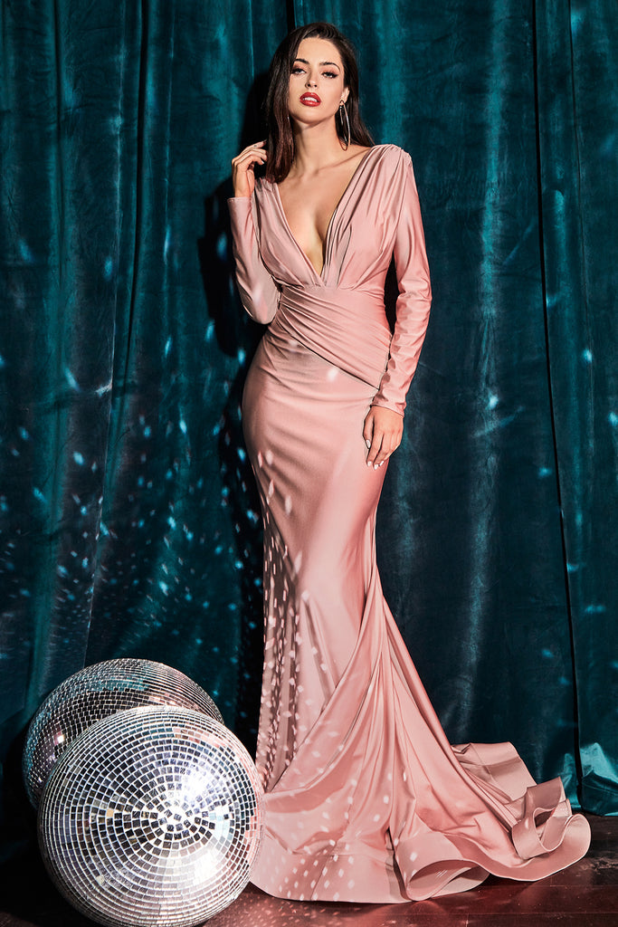 Blush Long sleeve fitted stretch jersey gown
