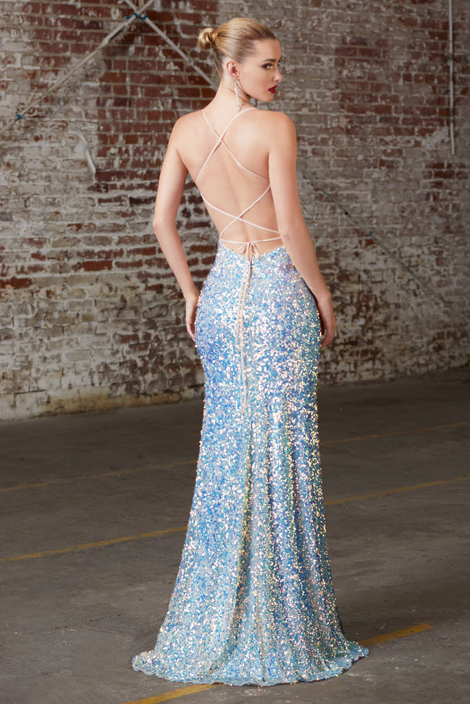 low back blue sequins prom dress new orleans