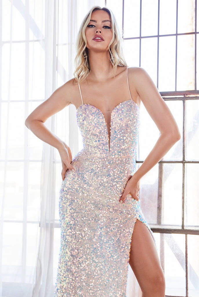 light pink sequins prom dress