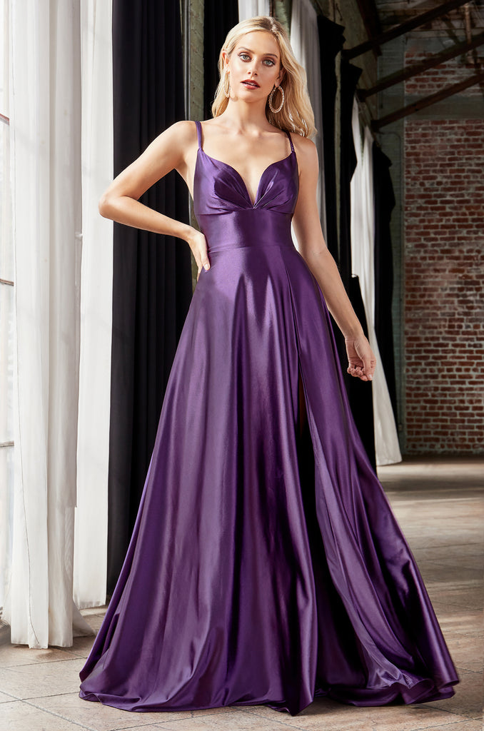 long satin purple prom dress