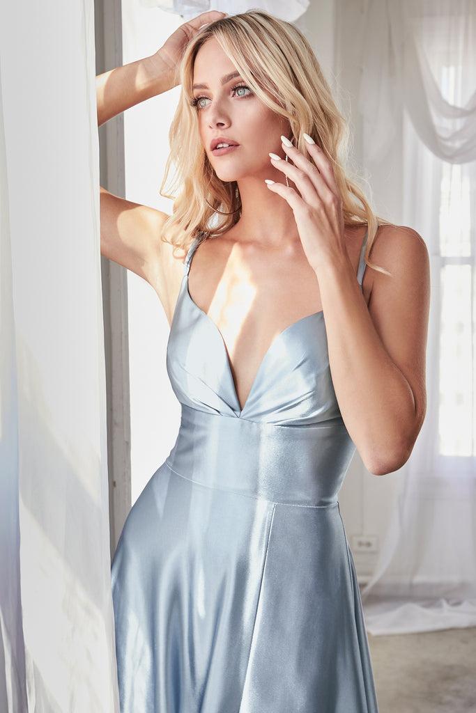 light blue satin prom dress dayton