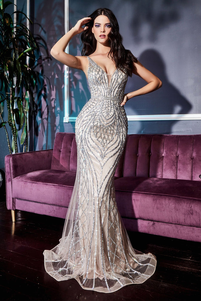 The Nola beaded evening gown