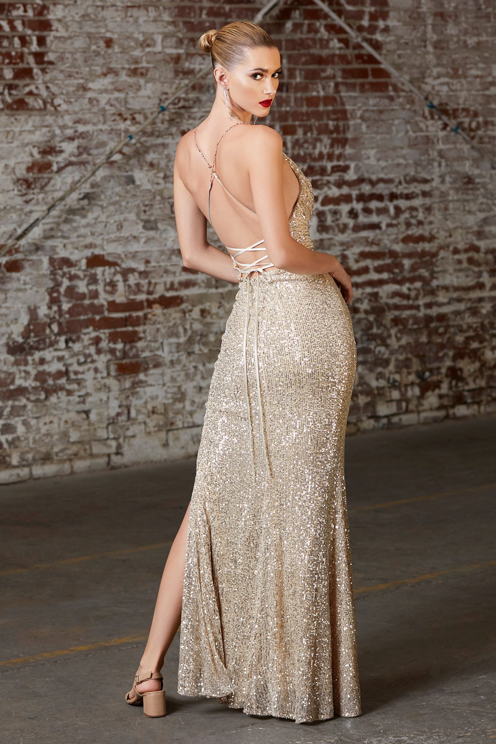 Cf199 gold sequins prom dress with open back