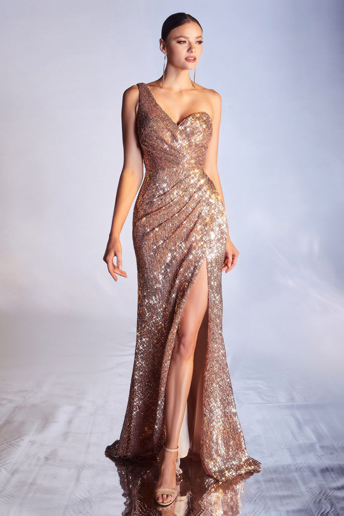 The Jae one shoulder sparkle fitted dress