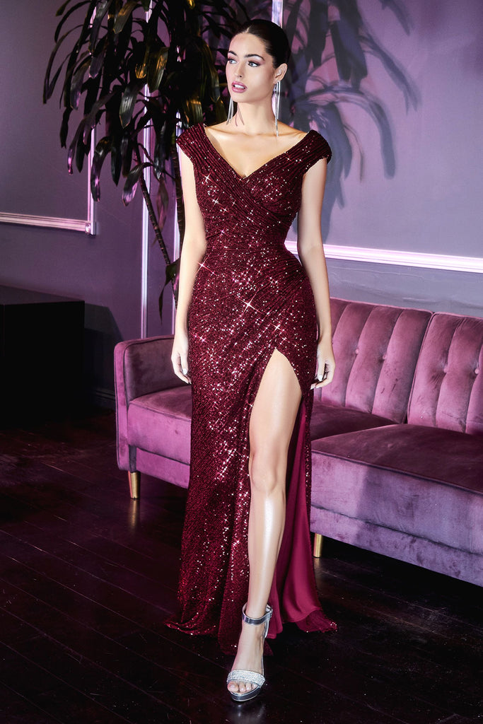 The Simone sequin fitted long prom dress