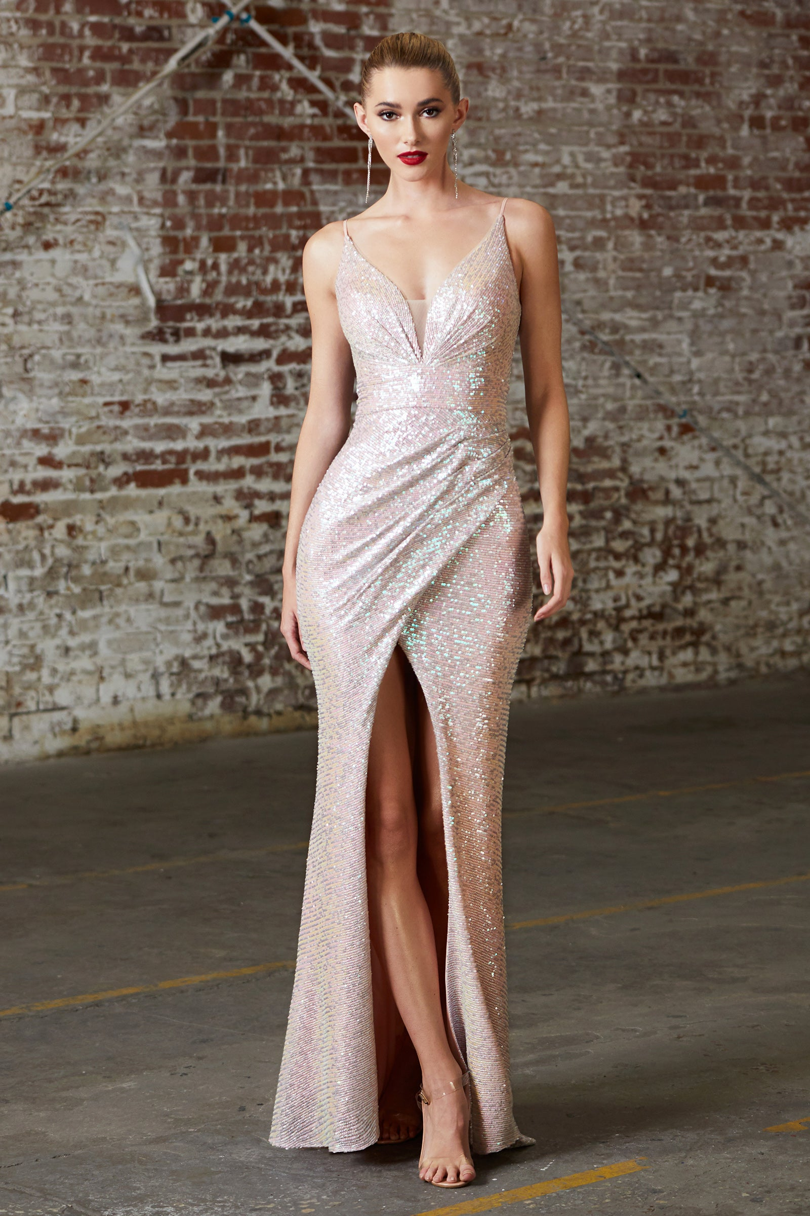 long blush sequins prom dress