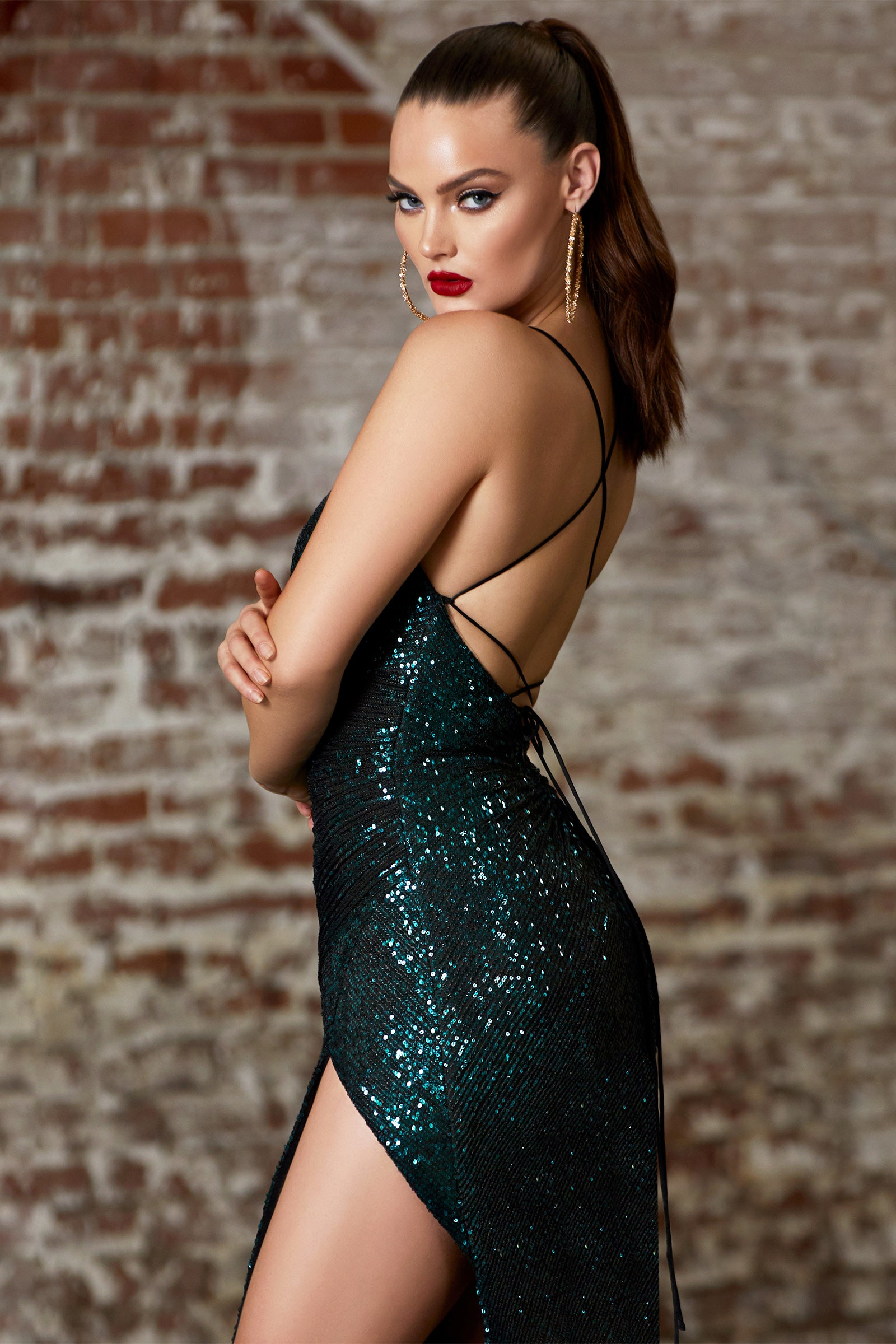 emerald green sequins prom dress with low back