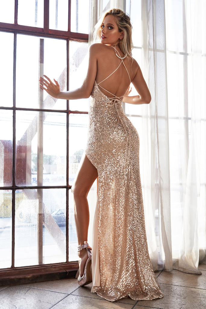 sexy gold  sequin low back prom dress