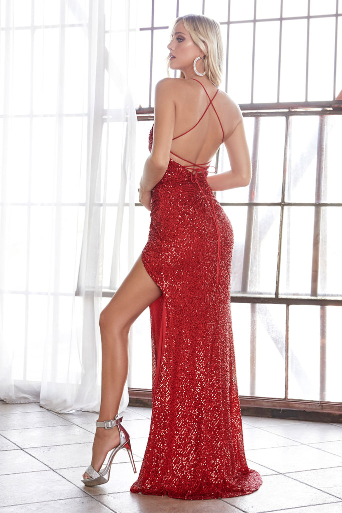 sexy red sequins prom dress