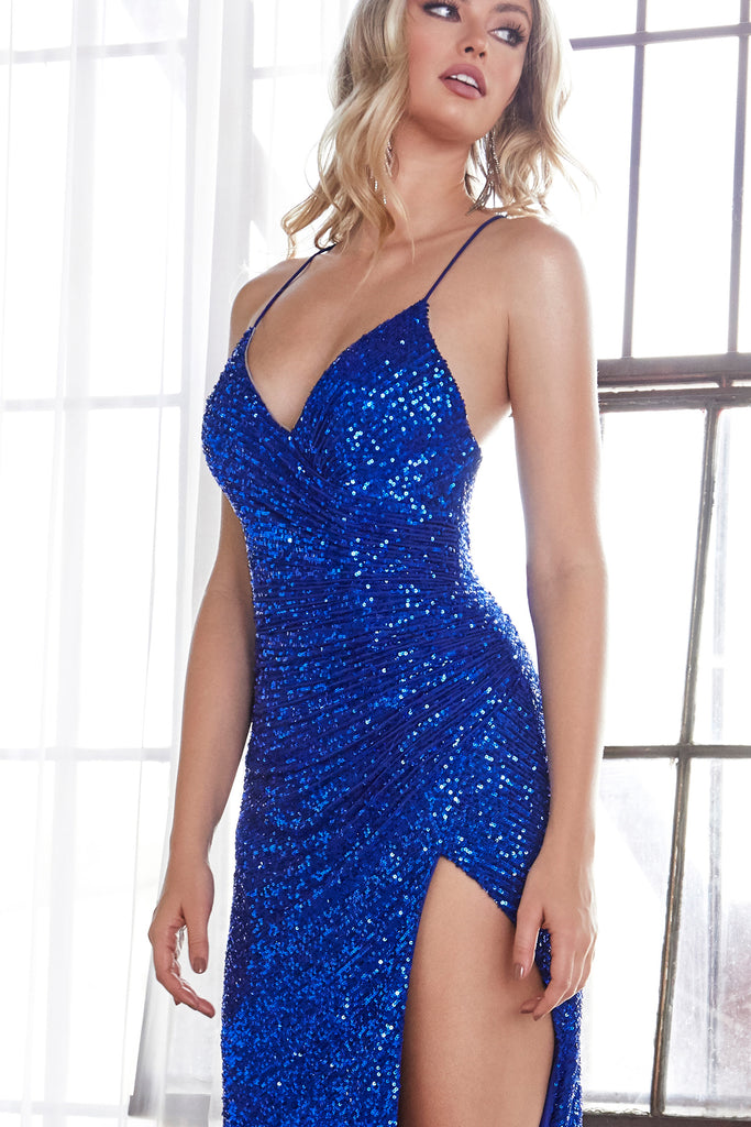 sexy low back sequins prom dress