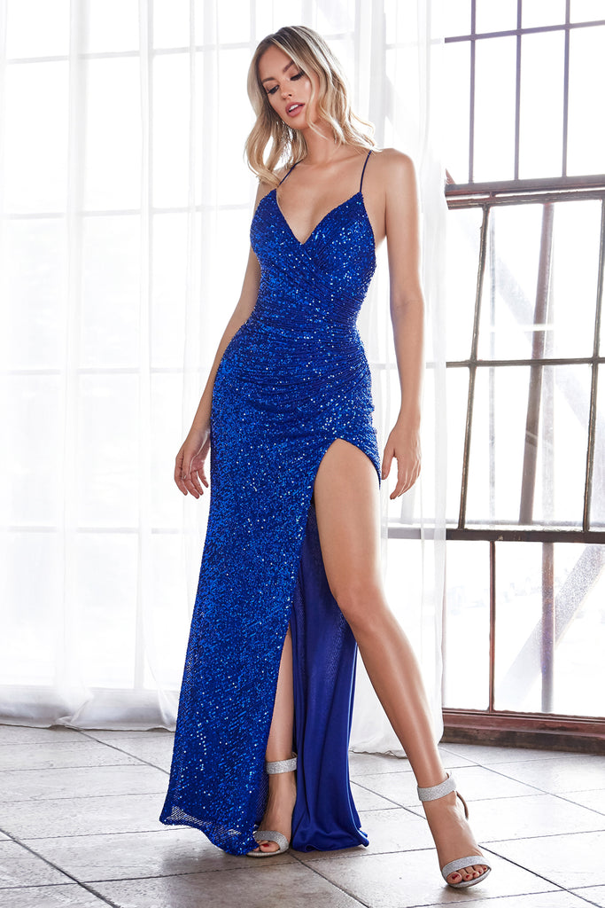 sexy sequin low back royal blue prom dress