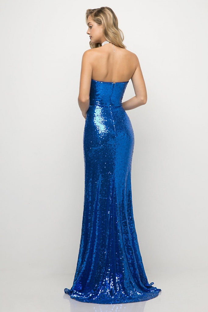 royal blue sequins prom dress