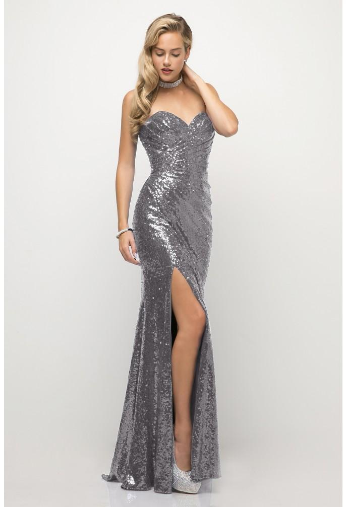 gunmetal silver strapless sequins prom dress CH561