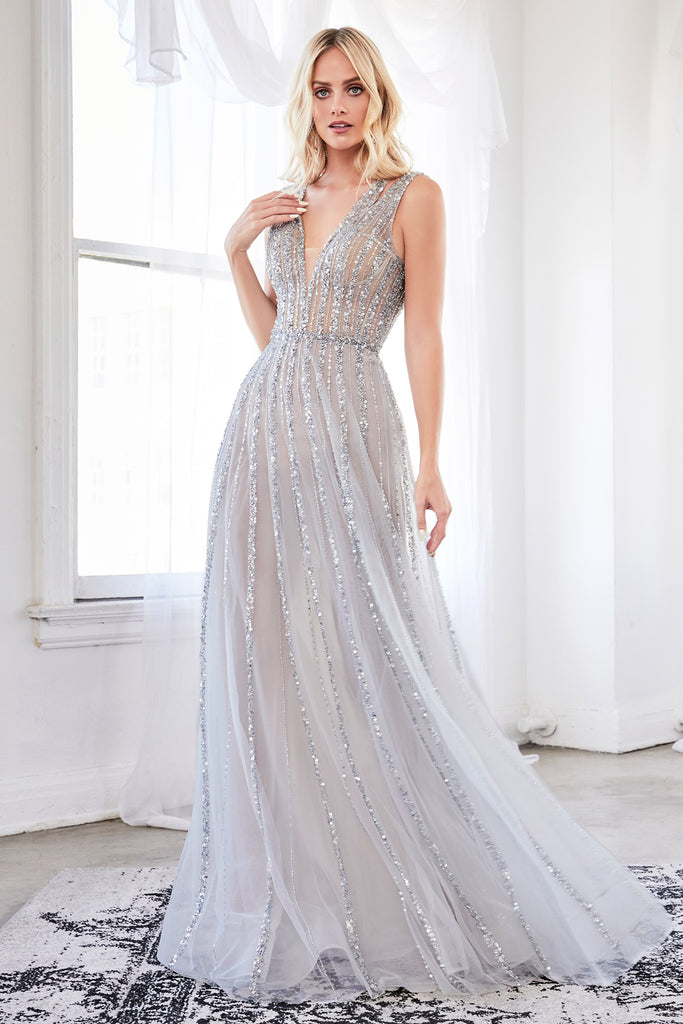 silver beaded evening dress for wedding